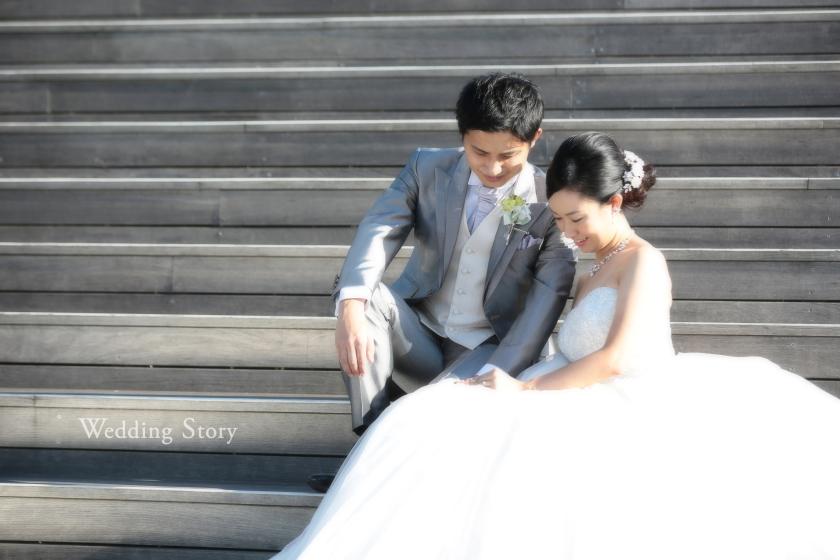 大さん橋の階段に座っての撮影