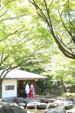 <center>池を囲む緑豊かな日本庭園「平成庭園」</center>