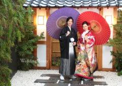 お庭に和傘が映える和装前撮り
