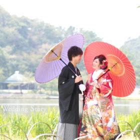 三溪園で撮影する、和傘が映えるフォト