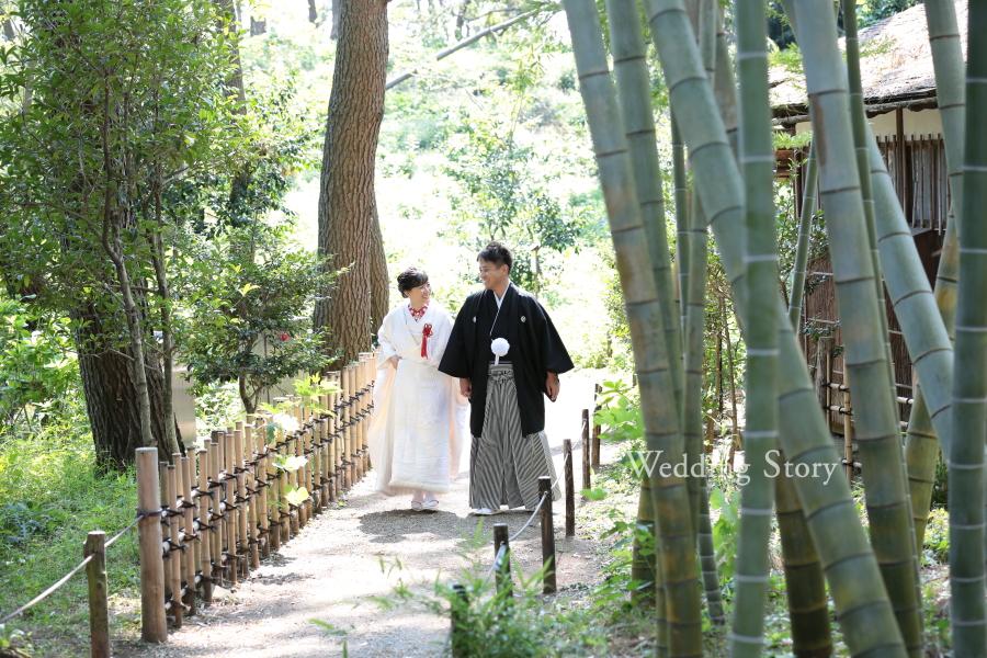 竹林の中を歩いているような和装写真